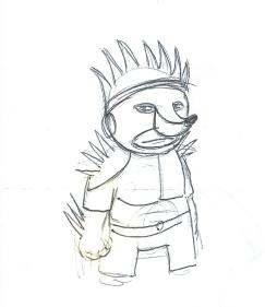 Le Hérisson ce héros méconnu : crayonné du costume du Hérisson